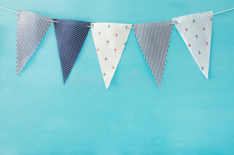 Nautical concept flags. Carnival and Birthday party background. royalty free stock photos