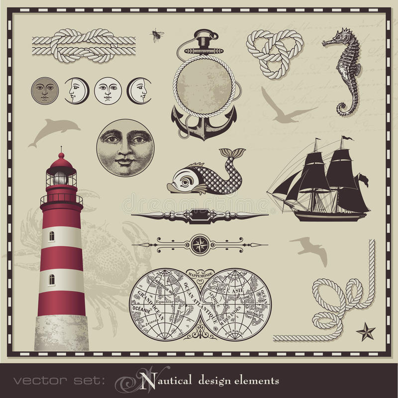 Download Nautical design elements stock vector. Image of design - 19103824