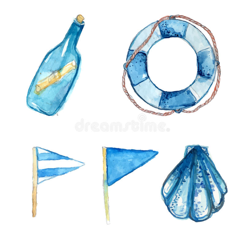 Nautical design elements hand painted in watercolor. Bottle with messsage, life buoy, blue signal flags and shell. Artistic vector stock illustration