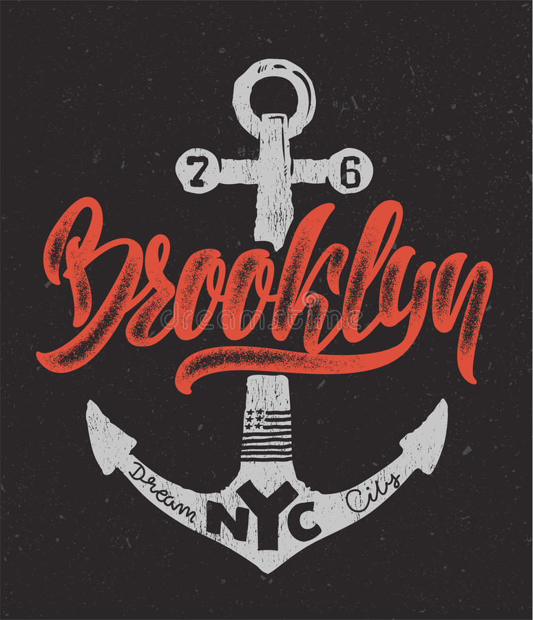 Download nautical design hand drawing brooklyn t shirt printing stock vector illustration