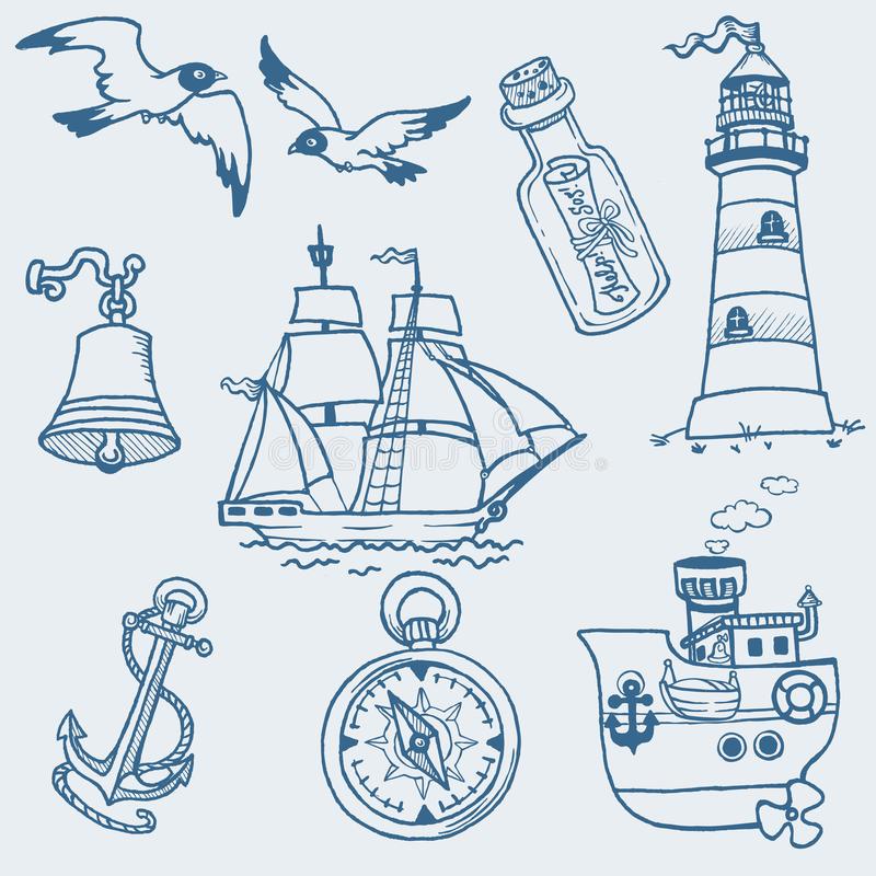 Nautical Doodles Royalty Free Stock Photography