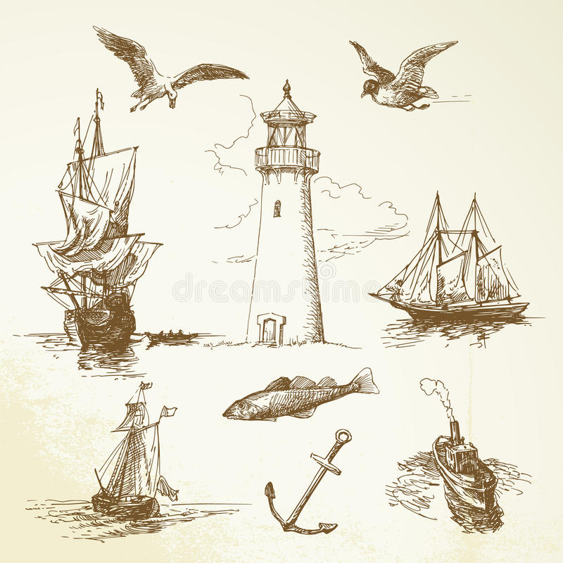 Download Nautical elements stock vector. Image of drawn, navigation - 26787635
