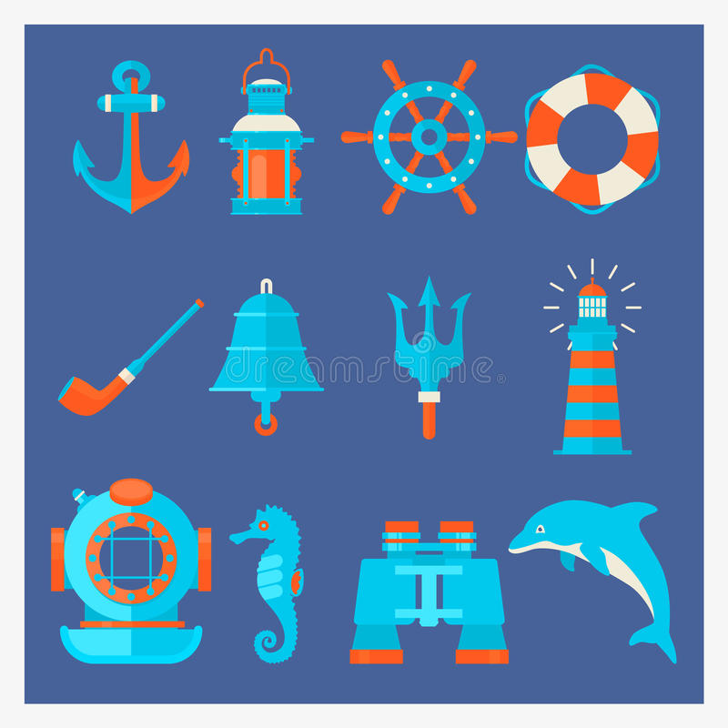 Nautical elements in cartoon style. Marine adventure equipment. Vector stock illustration