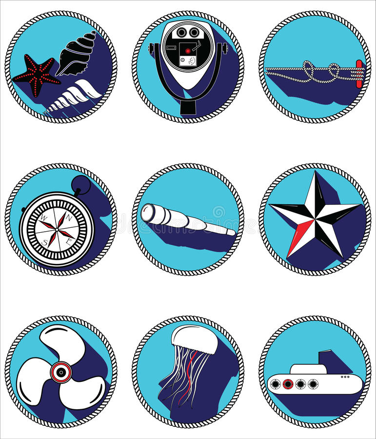 Nautical elements II icons in knotted circle stock illustration