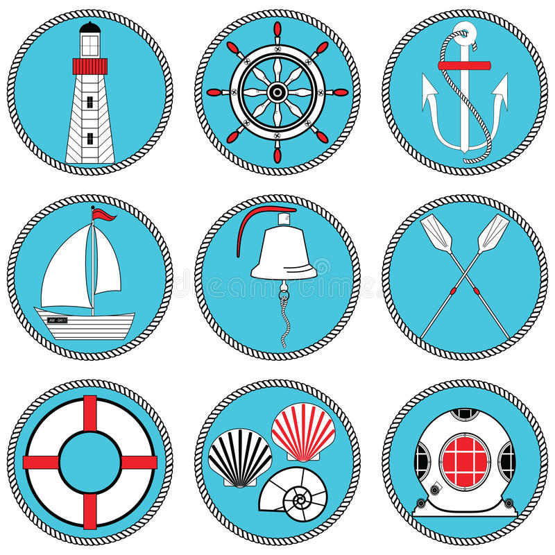 Free Nautical Elements Type 1 Icons Set In Knotted Circle Including Boat Bell, Boat, Oars, Rudder, Vintage Diving Mask, Life Ring Stock Image - 73653981