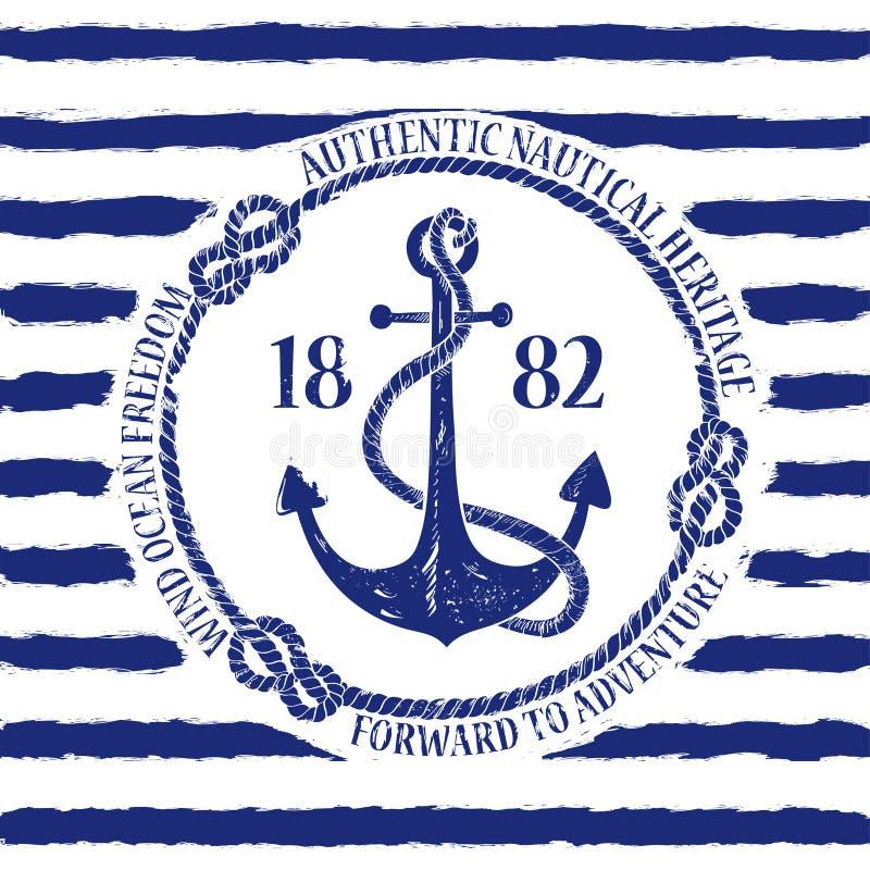 Nautical emblem with anchor stock illustration
