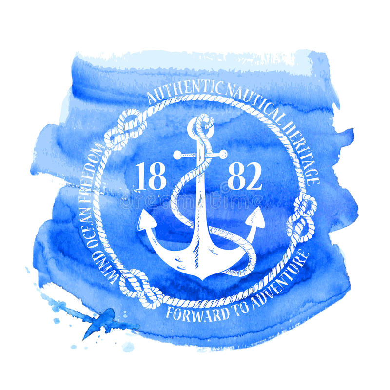 Nautical emblem with anchor vector illustration