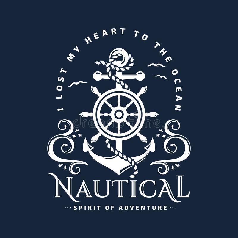 Nautical emblem with anchor, steering wheel and waves. royalty free illustration