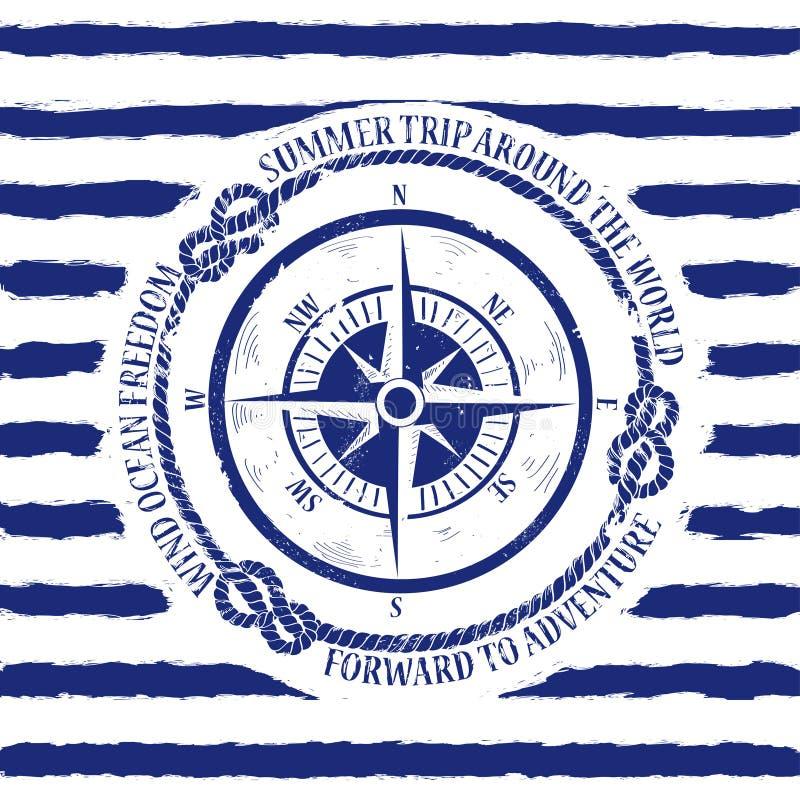 Nautical emblem with compass stock illustration