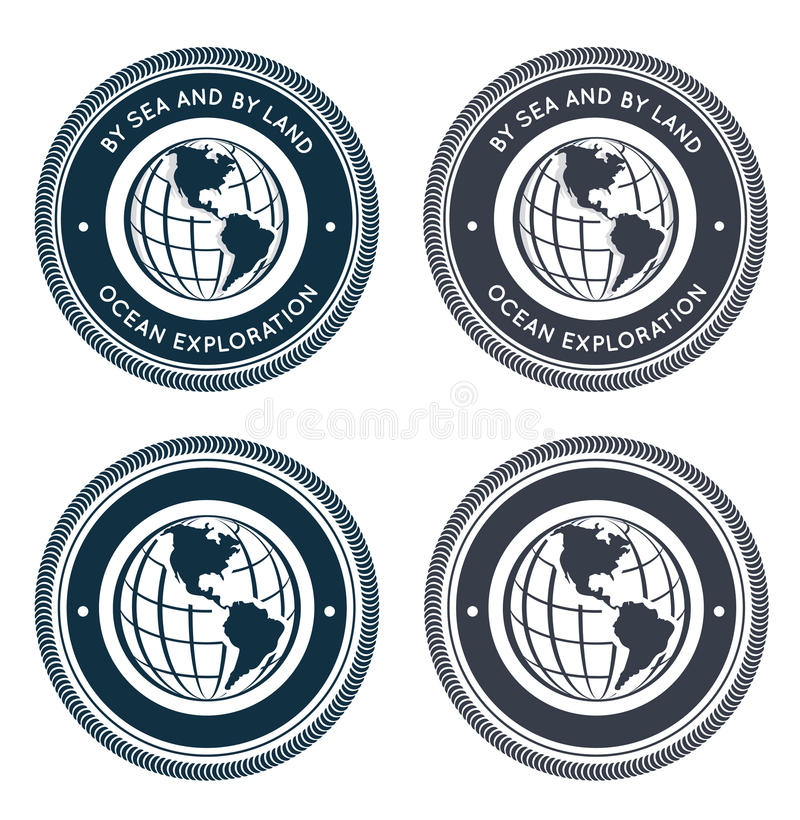 Download Nautical emblem with globe stock vector. Image of label - 26022086