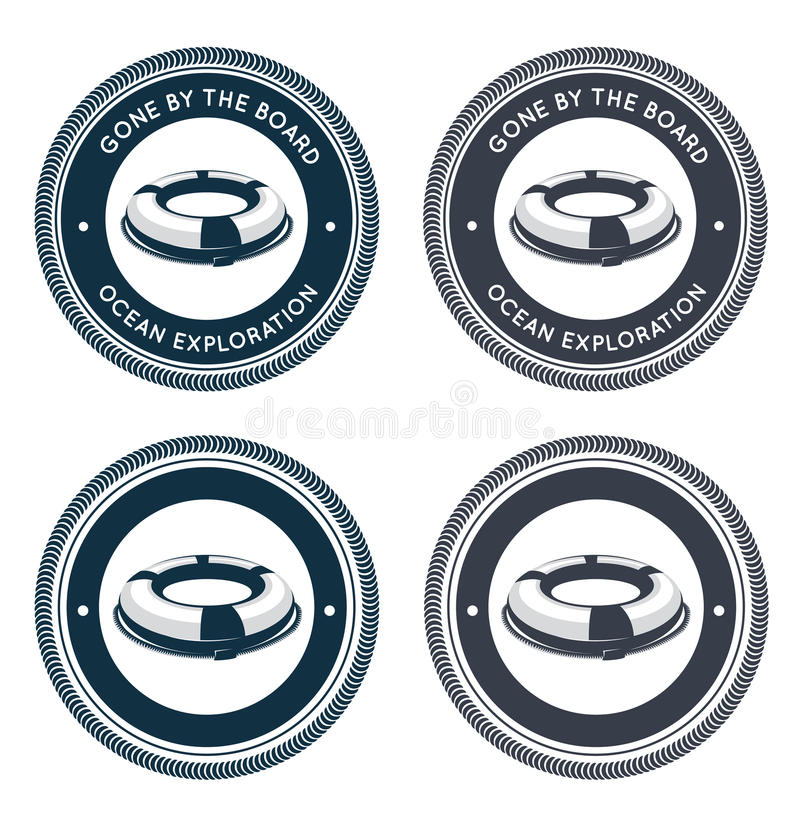 Download Nautical Emblem With Life Ring Stock Vector - Image: 26022089