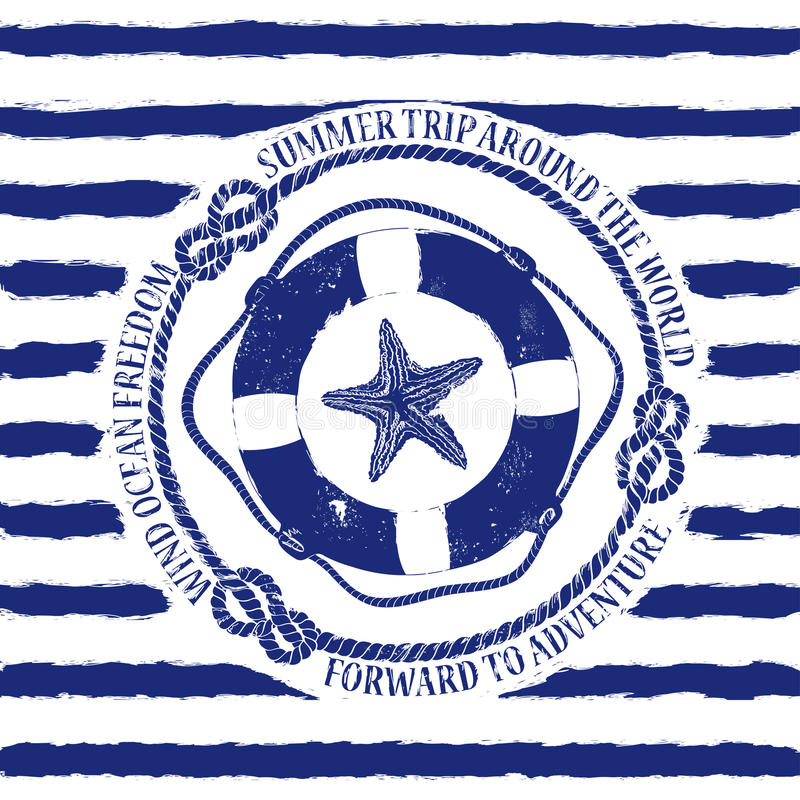 Nautical emblem with lifebuoy and starfish vector illustration