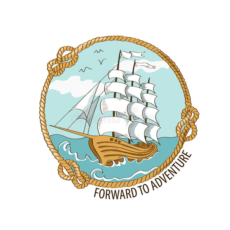 Nautical emblem with sailing ship royalty free illustration