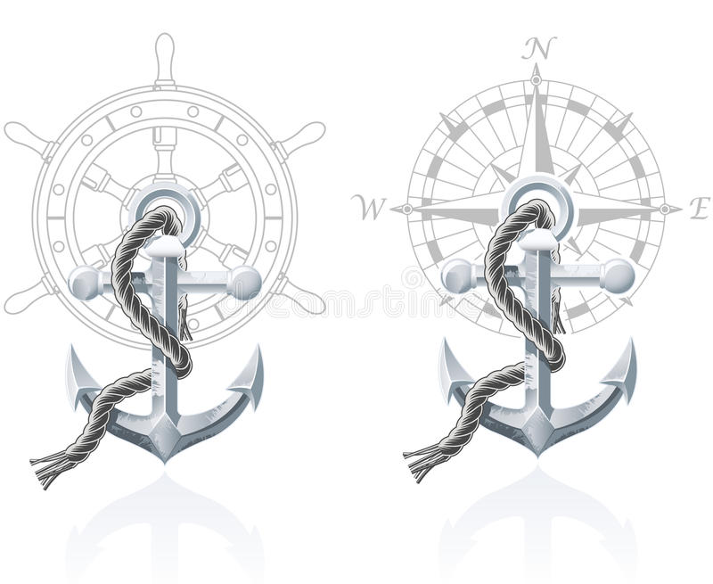 Nautical emblems. With different seafaring design elements vector illustration