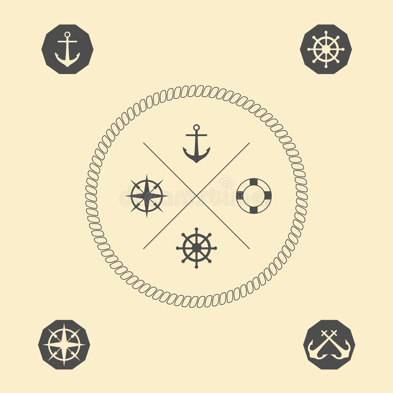Nautical emblems. Simple lines. Vector illustration. stock illustration