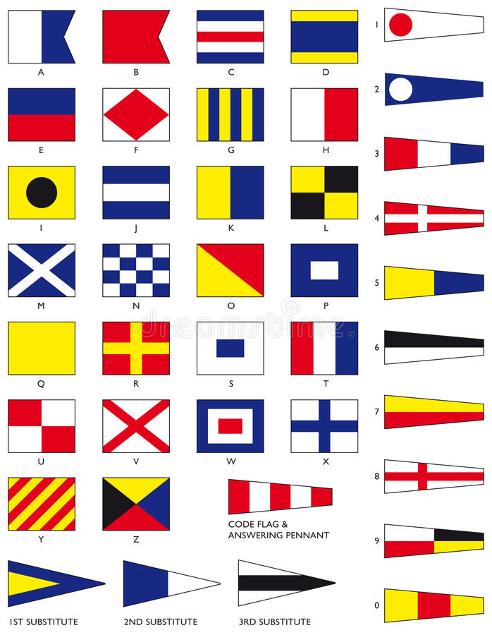 Nautical Flags. The full set of maritime signal flags including numeral pennants