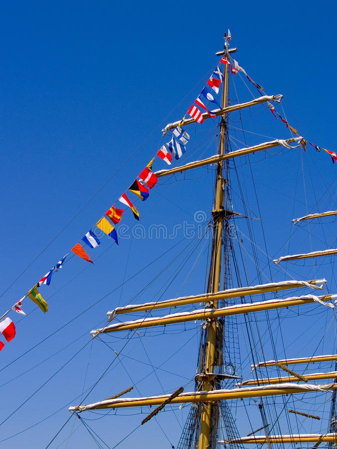 Nautical Flags and Mast stock image