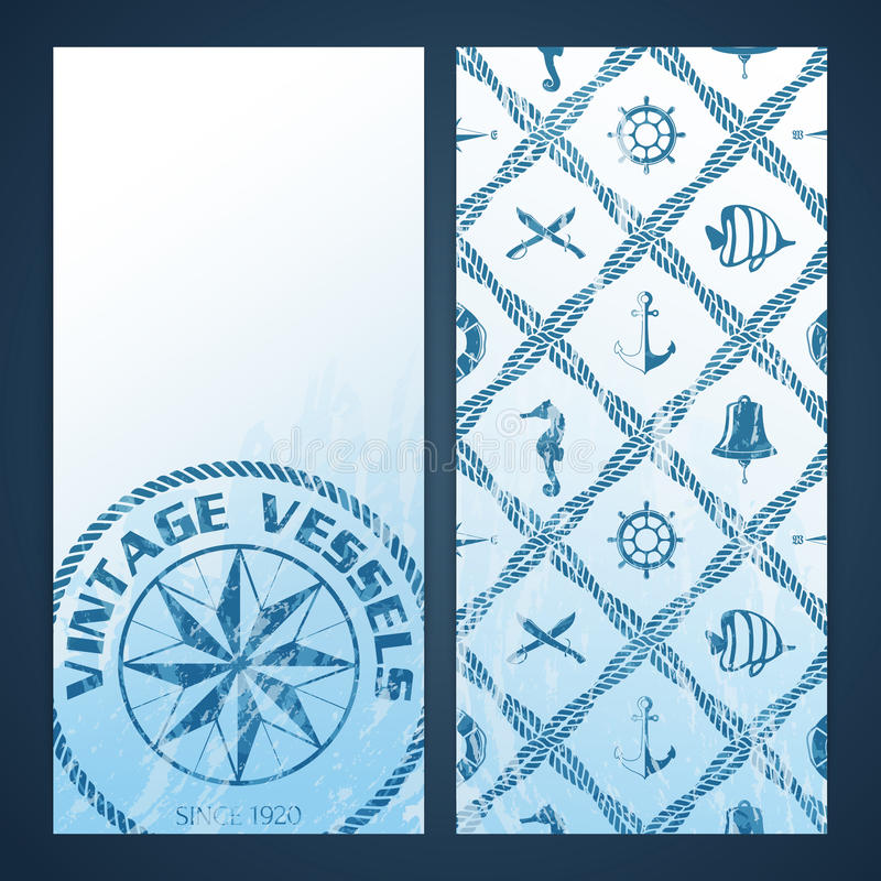 Nautical flayers with seafaring elements stock illustration