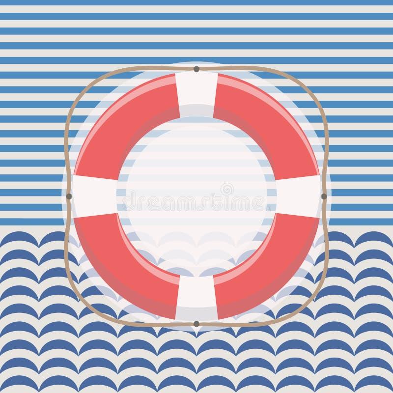 Nautical frame with lifebuoy royalty free stock photography
