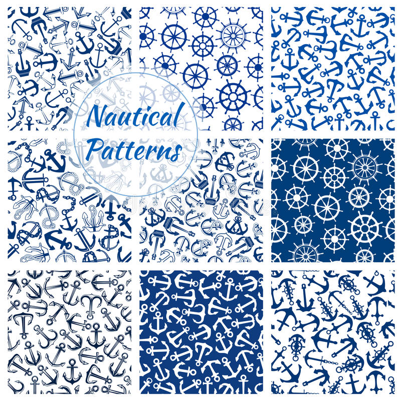 Nautical helm and anchor seamless pattern set vector illustration