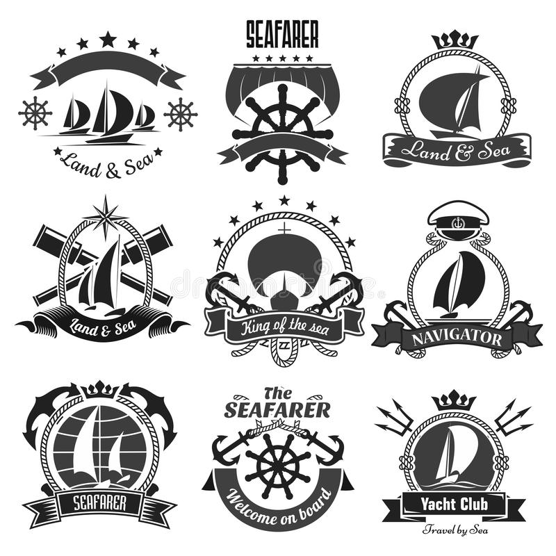 Nautical heraldic symbols, marine vector icons set. Nautical symbols and badges. Vector marine heraldic icons of anchor, ship helm and sailor compass or knot and royalty free illustration