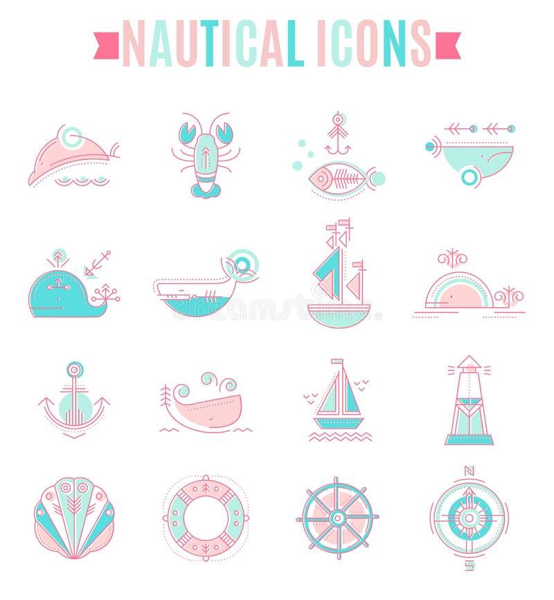 Free Nautical Icon Set, Minimalistic Flat Design With Thin Strokes Royalty Free Stock Image - 78162236