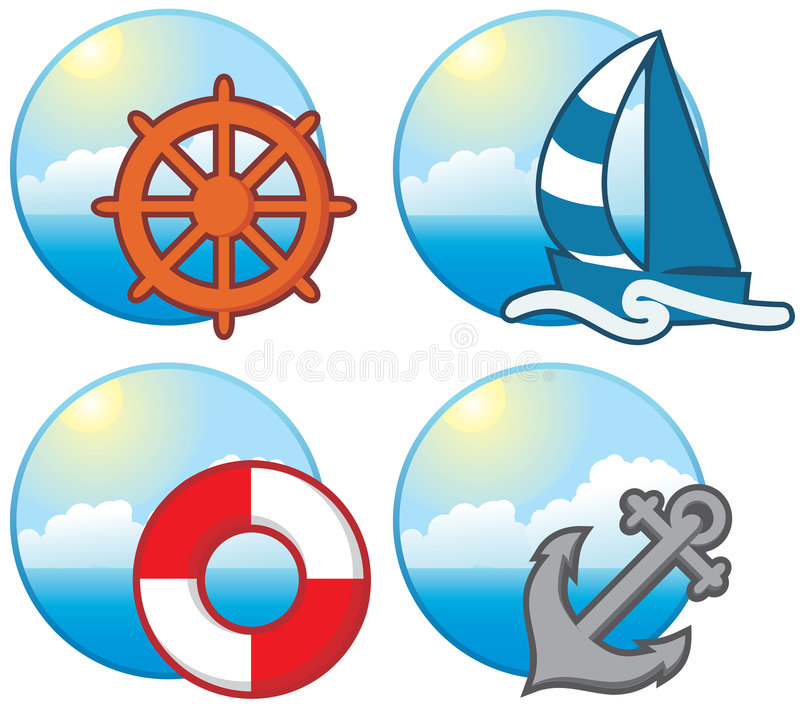 Download Nautical icons stock vector. Image of water, icon, beach - 7519019