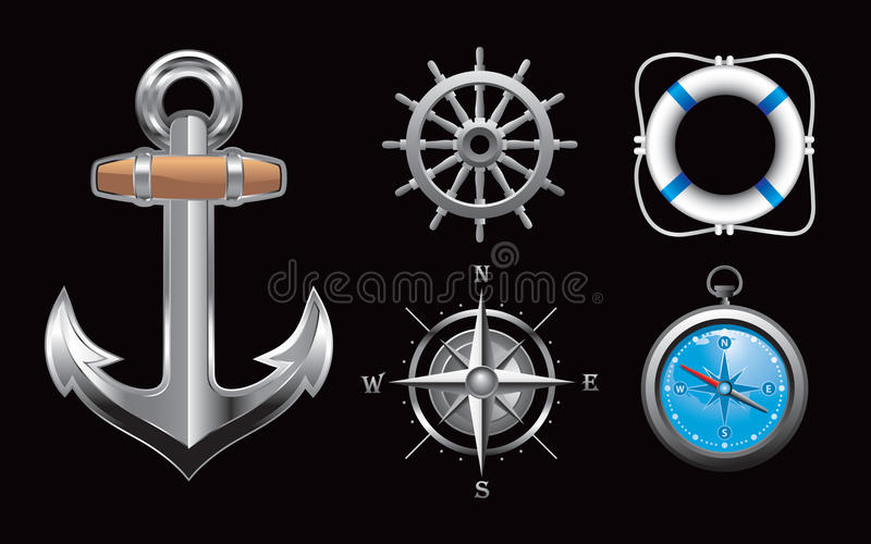 Nautical icons on black background royalty free stock photos