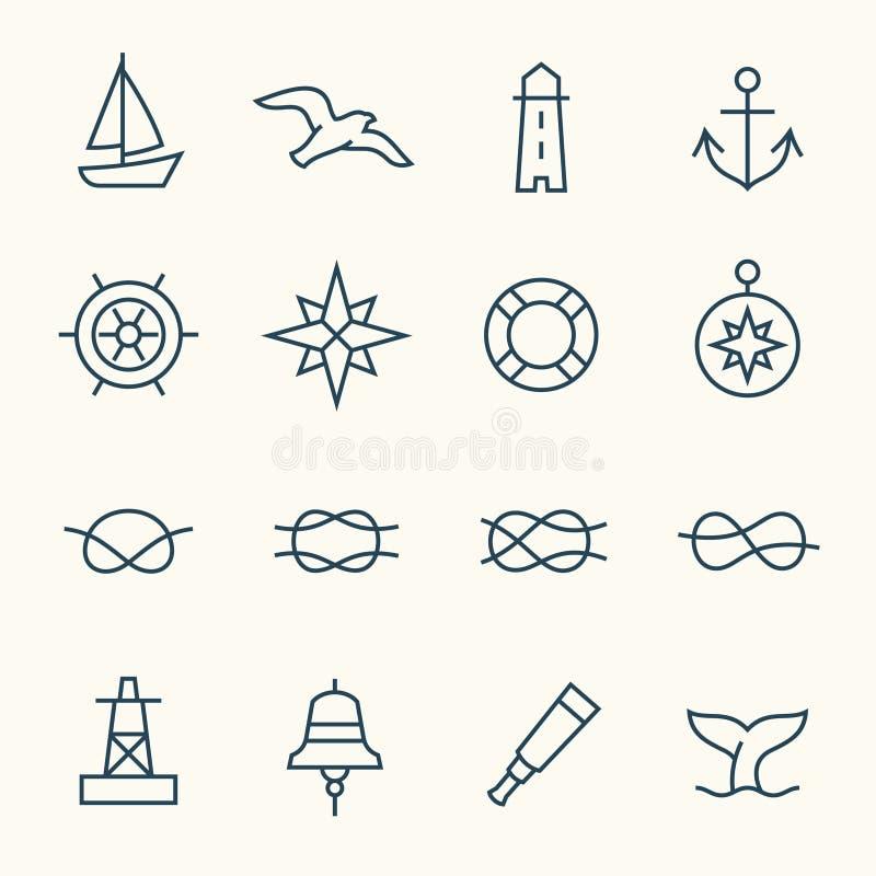 Nautical icons. Nautical symbols line icon set vector illustration
