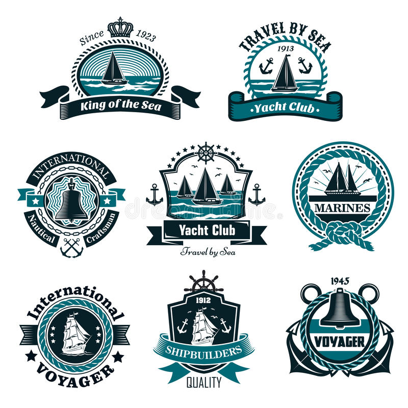 Nautical icons and vector marine symbols set. Nautical and marine icons set for yachting club or ship builders and seafarer heraldic badges. Vector isolated stock illustration