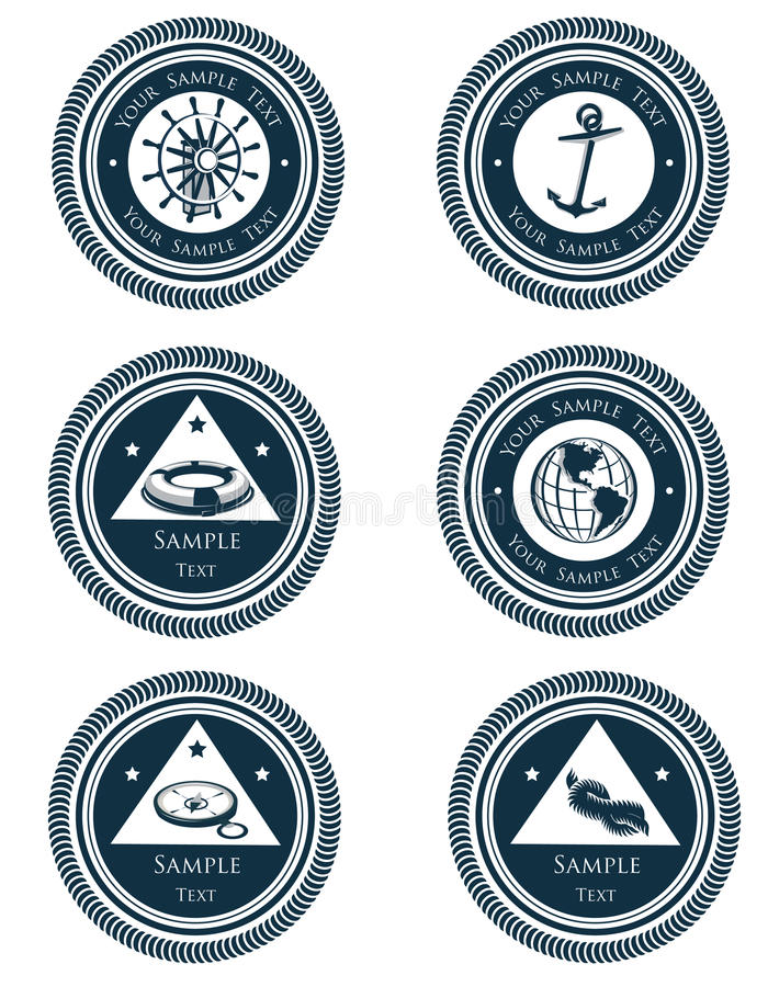 Nautical labels with marine symbols. Vector illustration of nautical vintage labels with marine symbols. Easy to edit. Font used Trajan Pro stock illustration