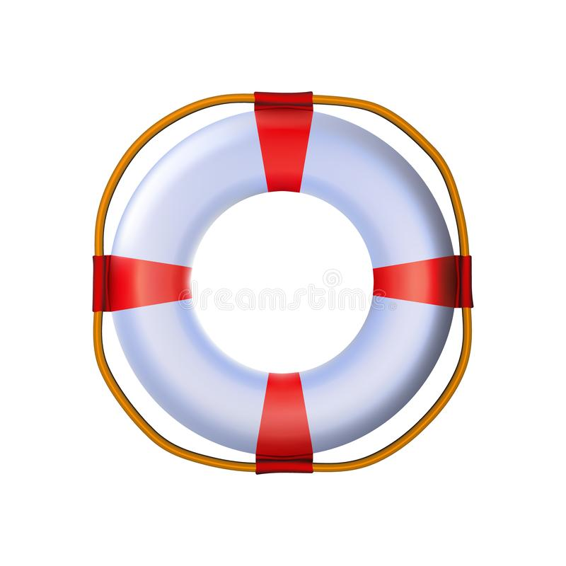Nautical lifebuoy Striped red white glossy 3d, rounded plastic realistic toy. Modern icon ships equipment design. With rope for vector illustration