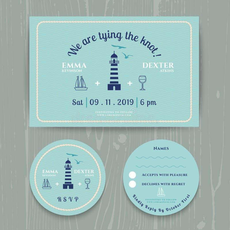 Nautical light house wedding invitation and RSVP card template set. On wood background royalty free illustration