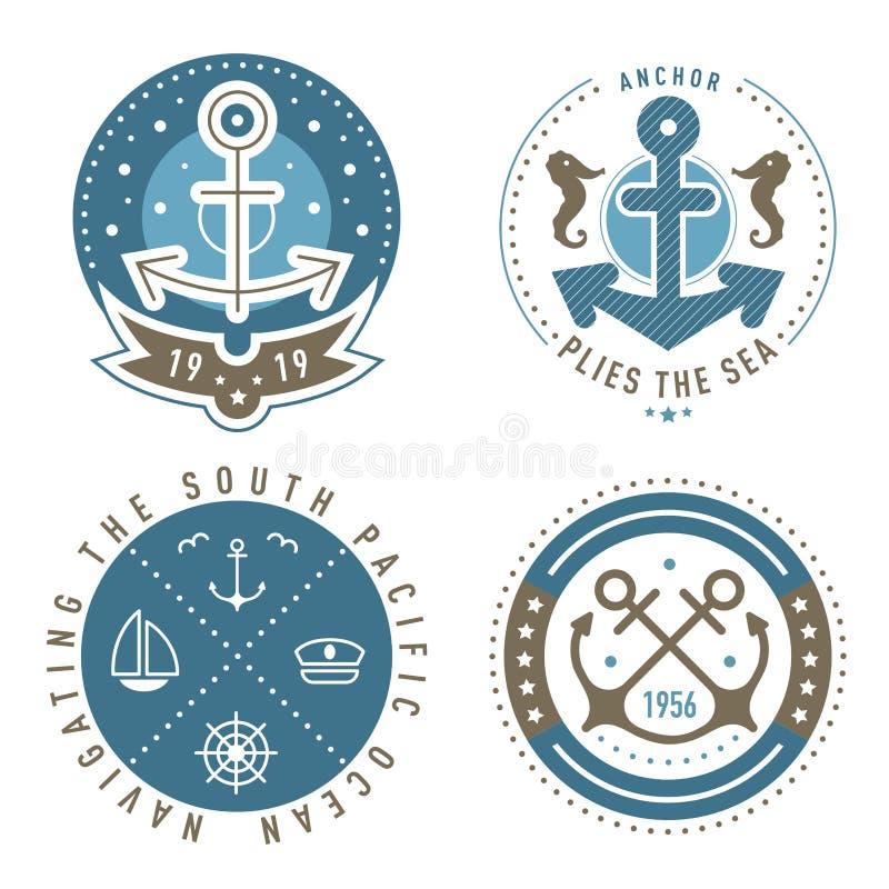 Nautical logo template set. Sailing object, icon vector set. Marine label, sea badge, anchor logo design, graphic emblem. Anchor,  ship silhouettes. Boat vector illustration