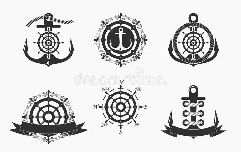 Nautical Logos Templates Set. Vector object and Icons for Marine Labels, Sea Badges, Anchor Logos Design, Emblems Graphics, sides stock illustration