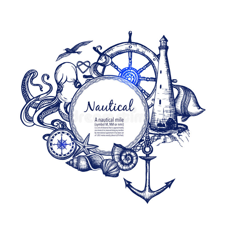 Nautical marine composition icon doodle. Nautical sea symbols composition doodle design with anchor compass and lighthouse in blue marine abstract vector royalty free illustration