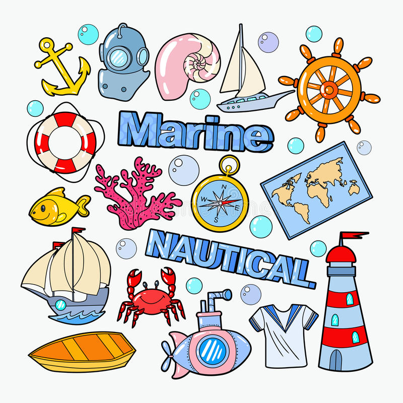 Free Nautical Marine Doodle With Fish, Boat And Submarine. Sea Vacation Royalty Free Stock Photography - 93269477