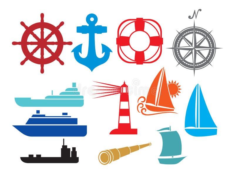 Nautical and marine icons stock illustration