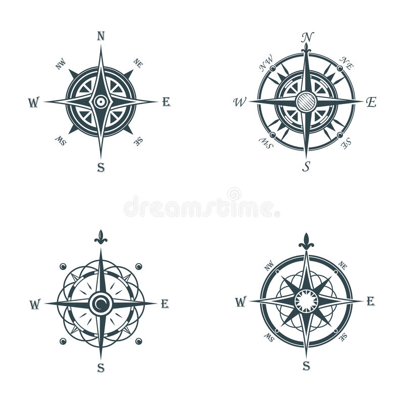 Nautical or marine old navigation compass. Sea or ocean vintage or retro wind rose for direction or longitude or royalty free illustration