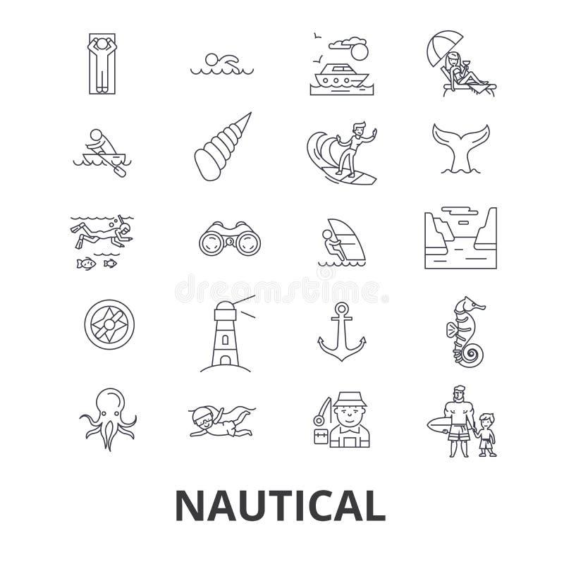 Nautical related icons stock illustration