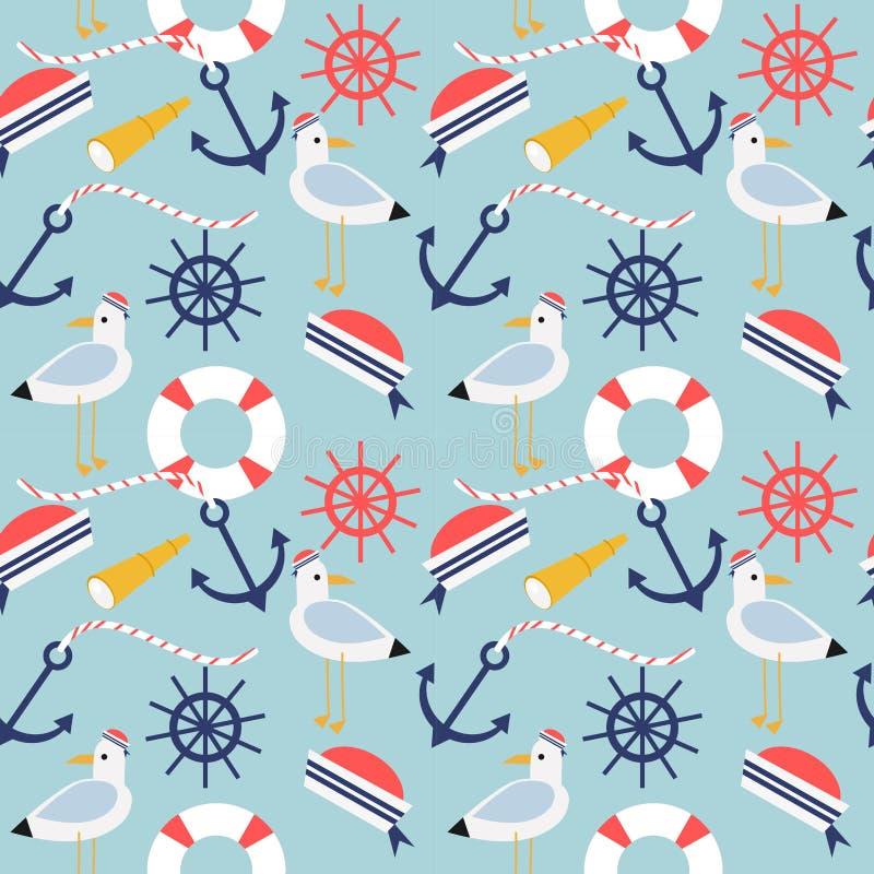 Nautical and marine symbols seamless pattern. Summer concept vector illustration