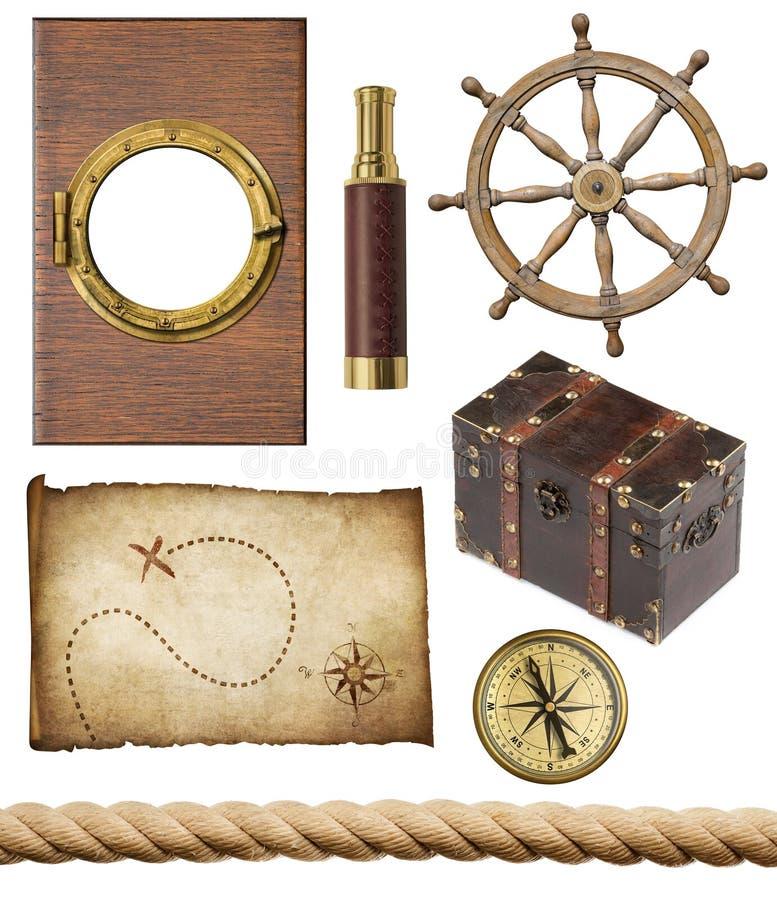 Nautical objects set isolated stock photo