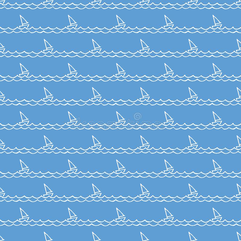 Nautical pattern, sailboats on waves. Summer background stock illustration