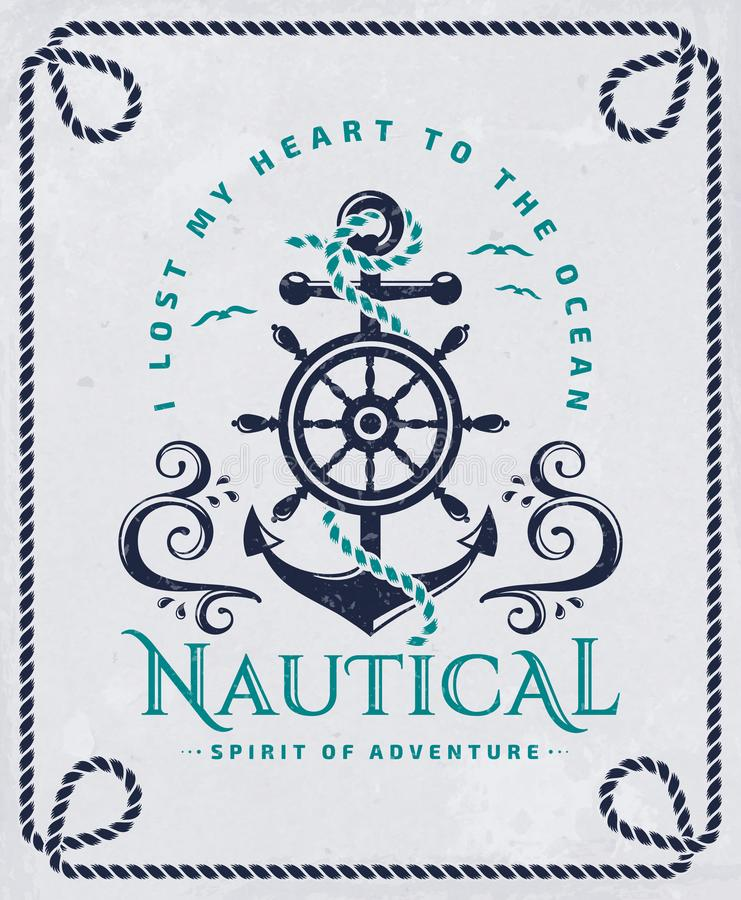 Free Nautical Poster With Anchor, Steering Wheel And Rope Frame. Royalty Free Stock Image - 119480736