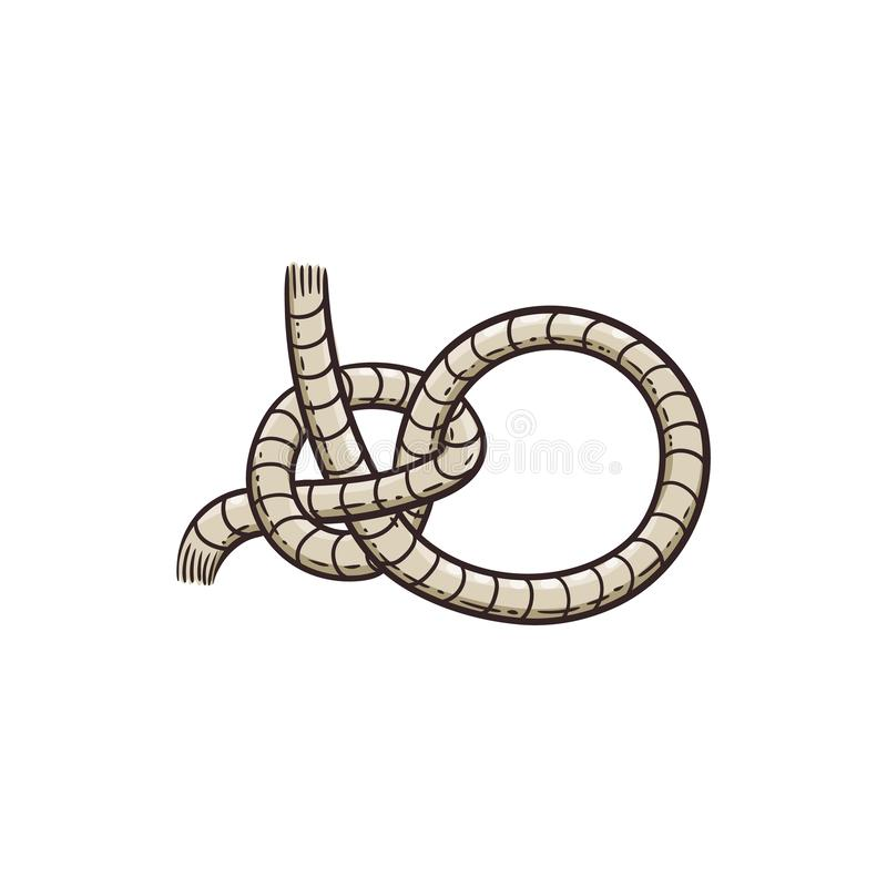 Free Nautical Rope Knot A Marine Element, Cartoon Sketch Vector Illustration Isolated. Stock Image - 165942841
