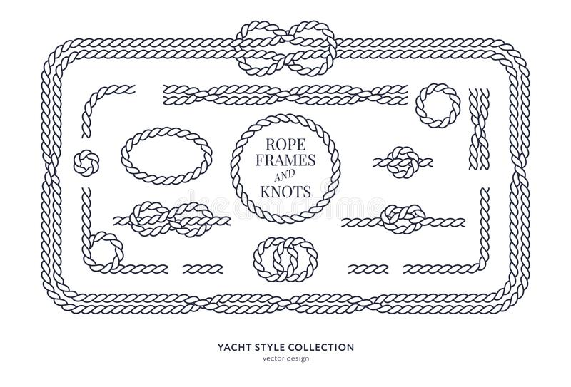 Nautical rope knots and frames stock illustration