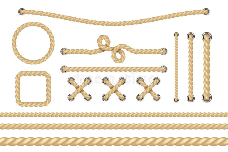 Nautical rope. Round and square rope frames, cord borders. Sailing vector decoration elements royalty free illustration