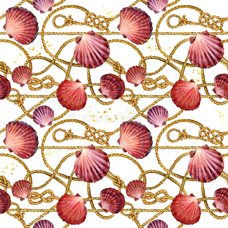 Nautical rope seamless tied fishnet background. marine knots and cordage pattern. seashells watercolor illustration. gold chains. Nautical rope seamless tied stock illustration