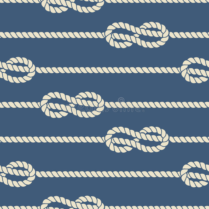Free Nautical Ropes With Knots Seamless Pattern Stock Photography - 76267312