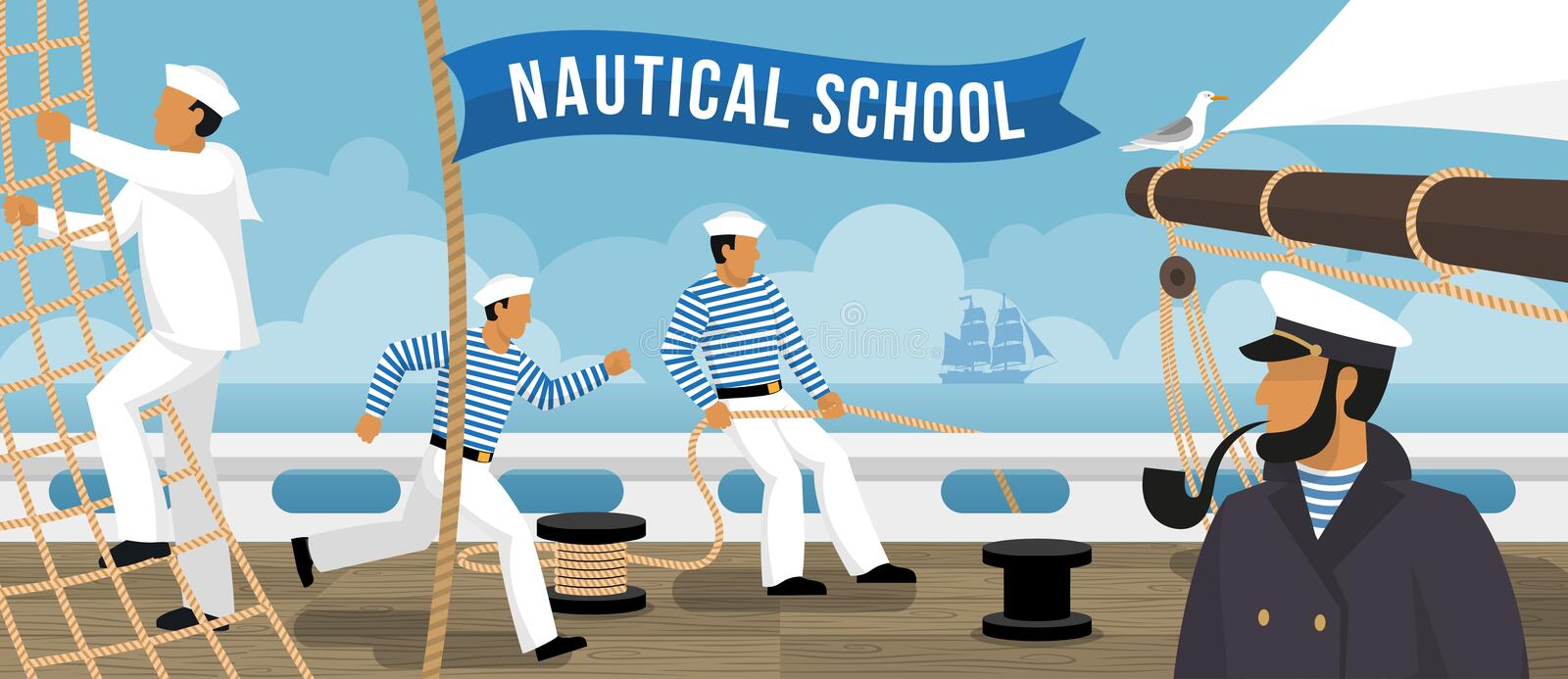 Nautical School Sailboat Flat Banner royalty free illustration